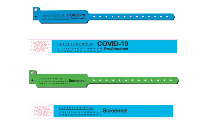 COVID-19 Pre-screened and Screened Wristbands